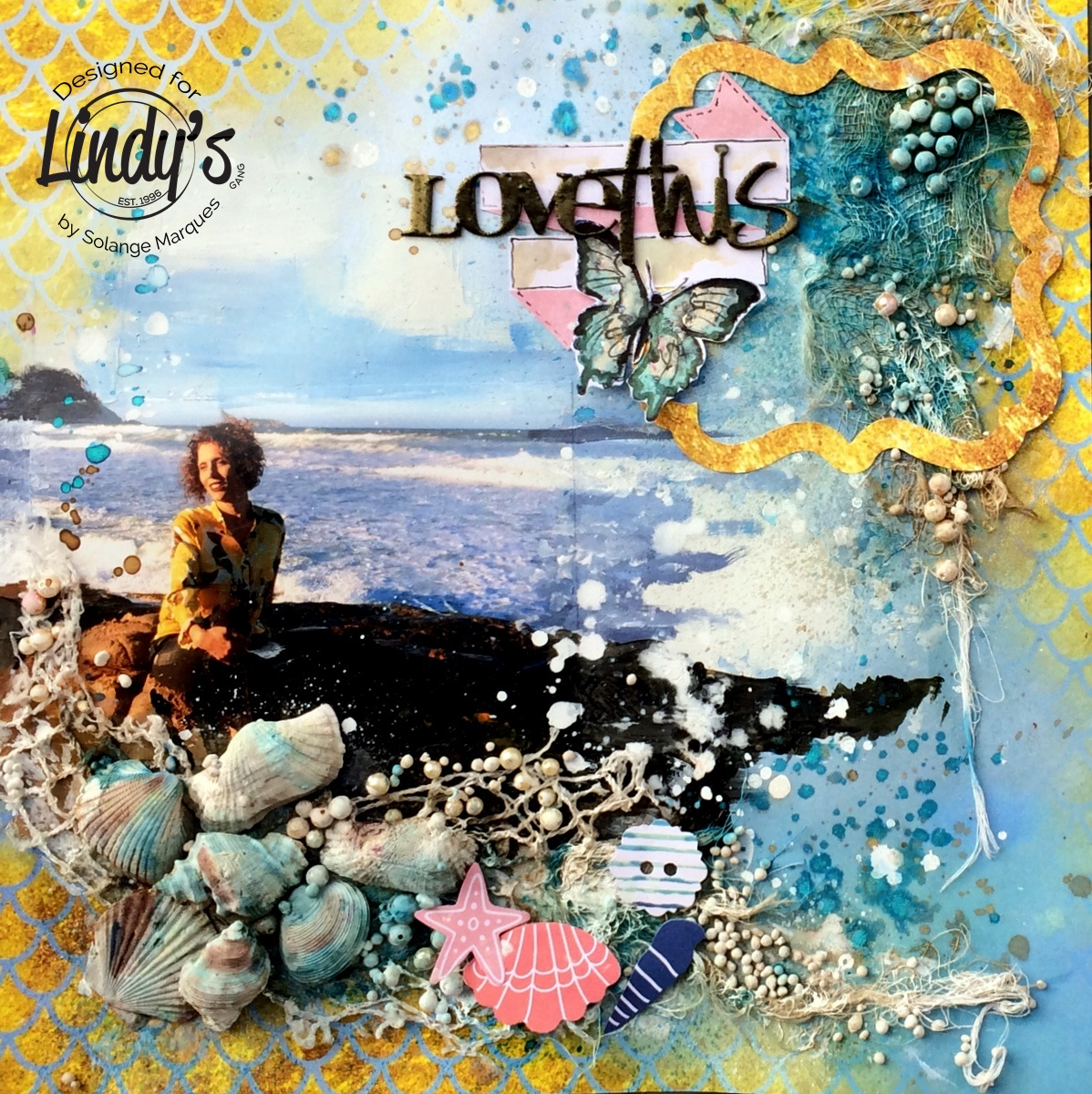 Layout by Solange Marques with Lindy's Stamp Gang products 00