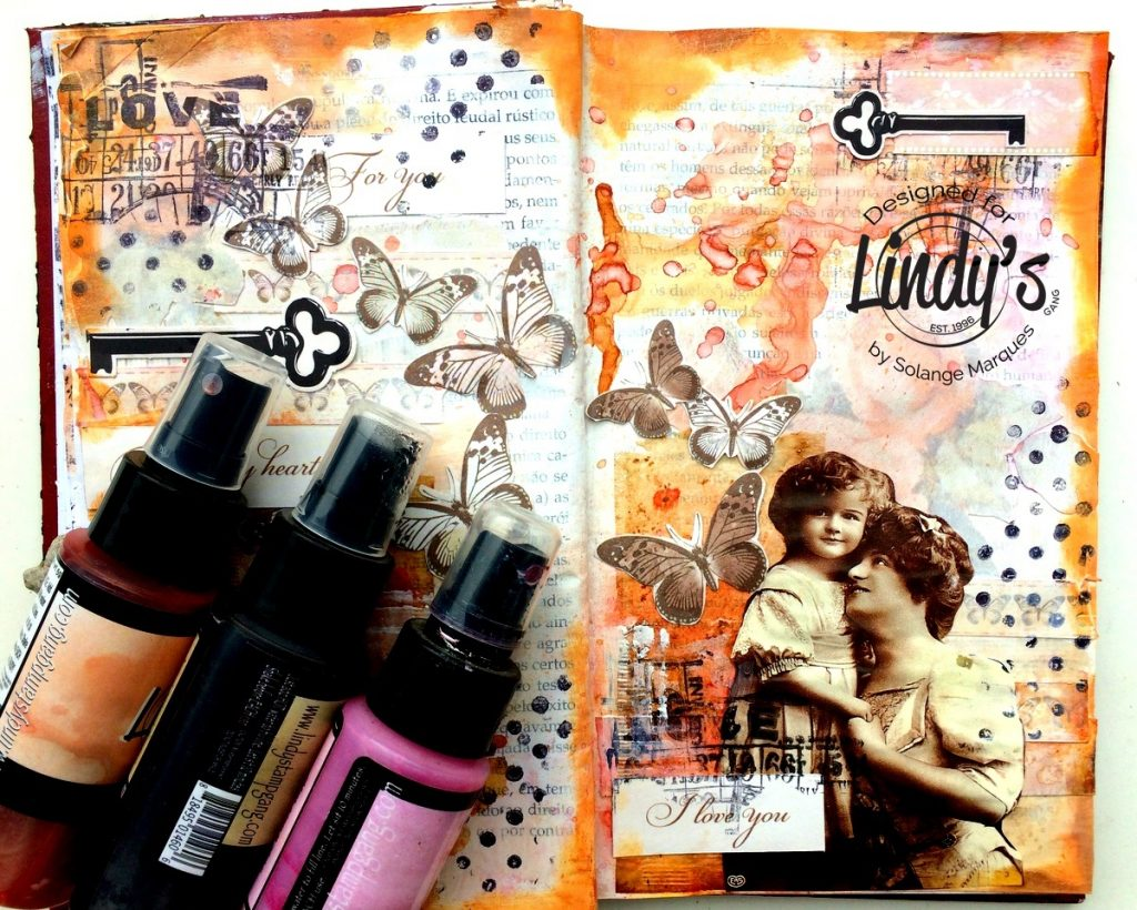 art journal pages by Solange marques with Lindy's Stamp Gang products-01